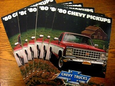 1980 Chevrolet  Pickup Truck Brochure LOT (6) pcs, Fleetside, Stepside, Crew Cab
