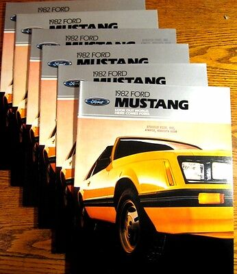 1982 Ford Mustang Dealer Sales Brochure LOT (6) pcs, L GL GLX GT
