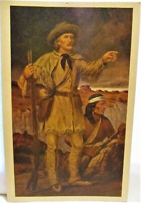 1950s POSTCARD CHRISTOPHER KIT CARSON & GUIDE WITH INDIAN