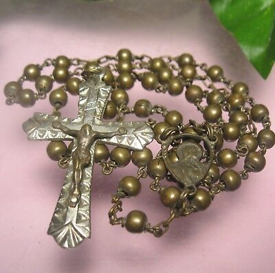 """Antique Vintage Brass Bead Rosary Italy 16"""" Old one"""
