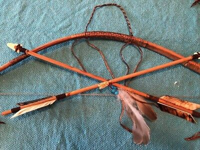 "27"" Scout Bow & Arrow Set W/2-19"" carved Arrows Leather feathers & Owl fetish!"
