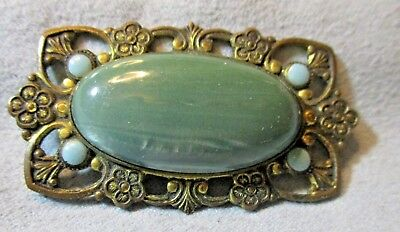Antique Vintage Shimmery Green Stone Oblong Pin Brooch Fancy Brass Color Metal