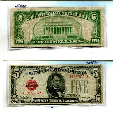 1928 B $5 Red Seal Currency Note Fine 4097L