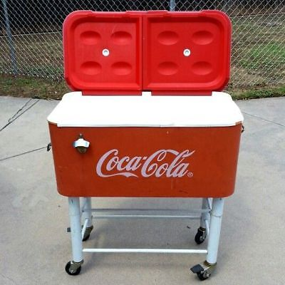 Vintage Coca Cola Rolling Patio Cooler Large w/ Bottle Opener Rio brand NEW!