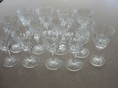 Set Of 13 Waterford Cut Crystal White Wine Glasses - Lismore - Stemware