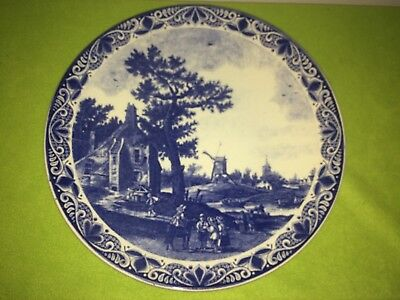 Large Vintage blue and white Delft charger blauw chemkefa 15 inches windmills