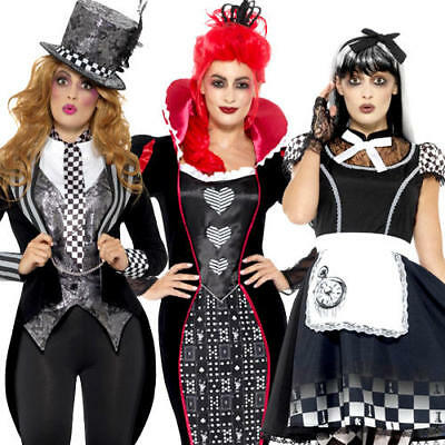 Dark Wonderland Ladies Fancy Dress Halloween Fairy Tale Horror Adults Costumes