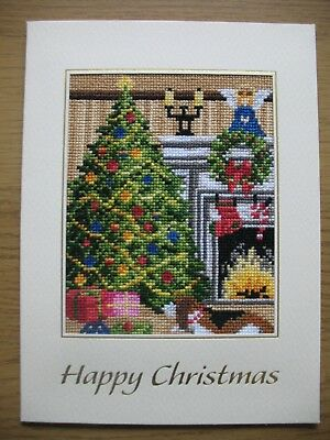 Large Completed Cross Stitch Card Christmas Time