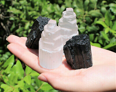 2 Selenite Towers & 2 Extra Grade Black Tourmaline Logs: Home Protection Kit