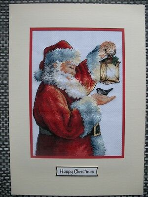 Ex LARGE COMPLETED CROSS STITCH CHRISTMAS CARD SANTA