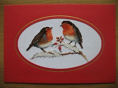 Ex LARGE COMPLETED CROSS STITCH CARD CHRISTMAS ROBIS