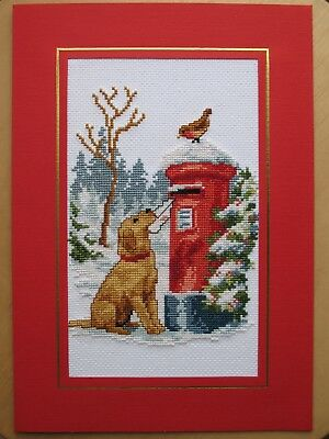 Ex LARGE COMPLETED CROSS STITCH CHRISTMAS CARD PUPPY AND POST BOX