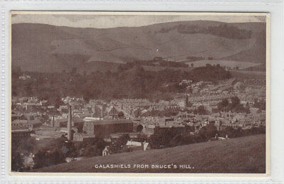Galashiels From Bruce's Hill Selkirk Factories Chimneys 1940's Old Postcard