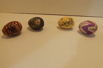 "Set of 4 Handmade Pysanky Decorated Easter Eggs 2 1/2"" Chicken Wood Hand Painted"