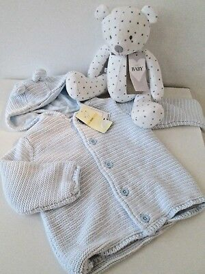 BABY BOYS M&S MARKS & SPENCERS HOODED KNITTED LINED JACKET & TEDDY 9-12mths BNWT