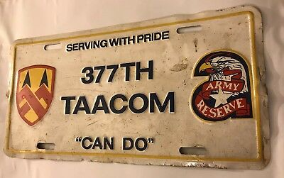 LICENSE PLATE - United States Army- Tag # 377th Div. TAACOM- Must See !