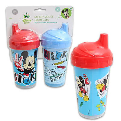2 pk Spill Proof DISNEY MICKEY MOUSE 10 oz Sippy Cups * Blue Red * Toddler Kids