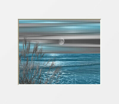 Coastal Ocean Blue Gray Modern Bathroom Bedroom Beach Theme Wall Art Picture
