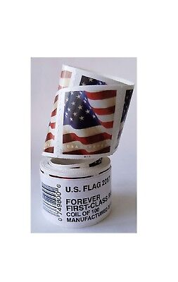 4 Coils/Roles USPS FOREVER STAMPS US FLAG, COILS/ROLES OF 100 STAMPS EACH