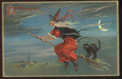 Nice Old Embossed Tuck Halloween Post Card, Witch Flying On Broon W/black Cat