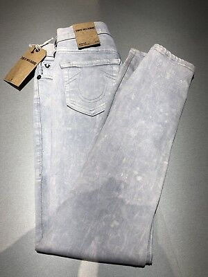True Religion Halle Mid Rise Super Skinny Light Wash Denim Jegging Jeans size 23