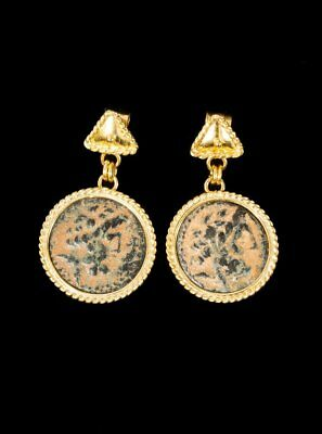 Vicki Orr Ancient Hellenistic Coin (323-31 BC ) 21k Yellow Gold Stud Earrings