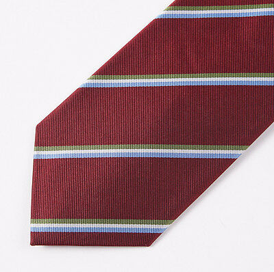 "New E.MARINELLA NAPOLI Burgundy-Green-Sky Ribbon Stripe Classic 3.5"" Silk Tie"