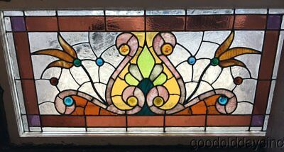 "Antique Victorian 1890's Stained Leaded Glass Transom Window Chicago 42"" by 22"""