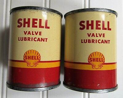 Two Vintage NOS Unopened SHELL VALVE LUBRICANT Oil Cans ~VERY GOOD~