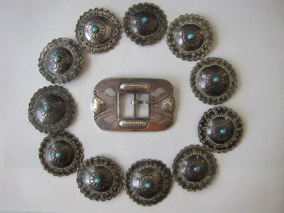 1930's 2Nd Phase ( 11 ) Round Navajo Silver Conchos W/ Turquoise & Buckle!!
