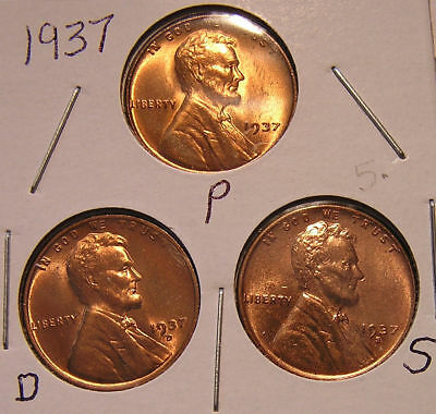 1937 P D S 3 RED BU UNCIRCULATED Lincoln Wheat Cent 5X BUT YOU GRADE THEM