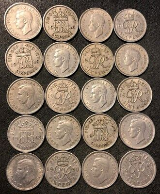 Vintage Great Britain Coin Lot! 20 KING GEORGE VI 6 Pence Coins  - Lot #115