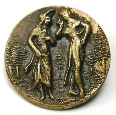 BB Antique Button Stamped Brass French Fops Design 7/8 inch