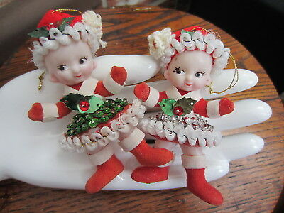 Vintage BEAD & SEQUIN Holly Flocked Child DOLL Cuties CHRISTMAS ORNAMENT LOT