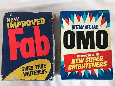 Vintage Washing Power Packets X 2 -Omo & Fab - Empty -Grocery Shop