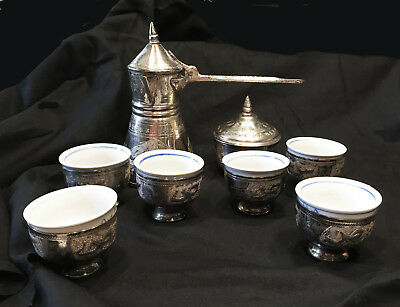 Vintage Silver Plt Turkish Coffee/Espresso Set For 6 Porcelain Cups from Lebanon