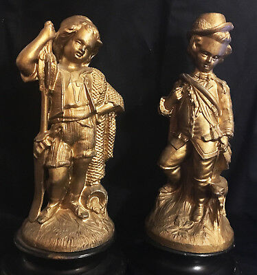 Pair of Antique Victorian Gilt Spelter(?) Statue/Figurines on bases signd B&M NY