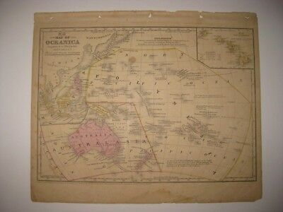 Antique 1852 Oceanica Oceania Australia New Zealand Hawaii Malaysia Handcolr Map