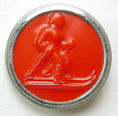 BB Vintage Celluloid in Steel Button Cross Country Skier 1930s
