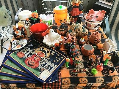 Collection Of 35 Halloween Articles, Figures, Table Items, Spooks, Collectibles