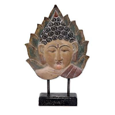 'Buddha Leaf' Wood Sculpture with Stand Hand Carved NOVICA Indonesia