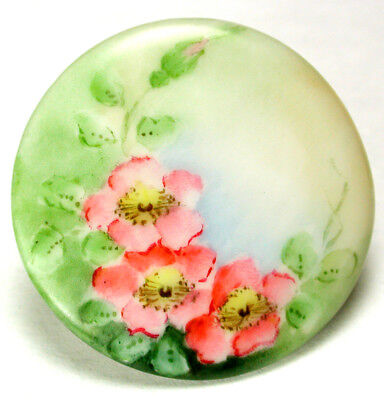 BB Antique Porcelain Button Hand Painted Pink Flowers  1 & 3/8 inch