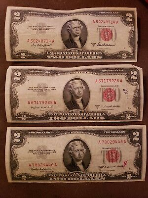 1953 Red Seal Two Dollar Legal Tender United States Note $2 Bill 1953A, B, & C
