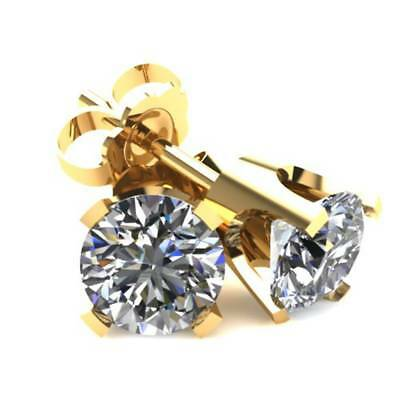 .20Ct Round Brilliant Cut Natural Diamond Stud Earrings Classic Set In 14K Gold