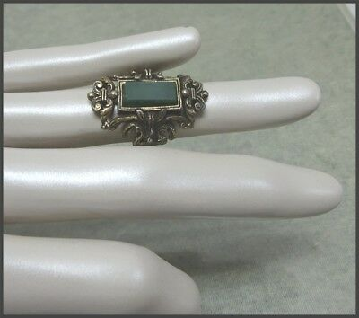 Vintage Signed MIRACLE Ring Antiqued Goldtone With Green Stone Size 6 Adjustable