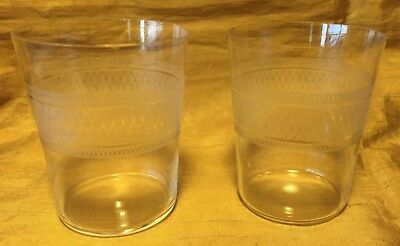 "Antique Pair / Set 3"" Tall Juice or Cordial Glasses w Ornate Etch Cut Band"