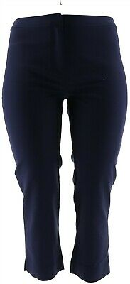 Dennis Basso Stretch Woven Crop Pants Front Fly Hook loop Navy 14 NEW A278235