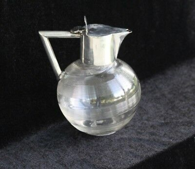 Antique c. 1903 Mappin & Webb English Sterling Silver Mounted Claret Jug Pitcher