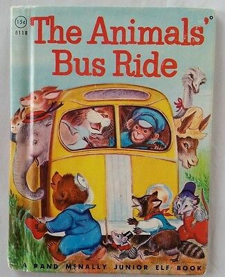 Vintage 60's Rand McNally Junior Elf Book The Animals Bus Ride #8118
