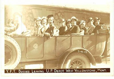 Rppc Y.p.t. Busses Leaving U.p. Depot West Yellowstone Montana Real Photo Postca